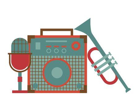 Tonverstärker Mikrofon Trompete Instrument und Ausrüstung Festival Musik Vector Illustration Vektorgrafik