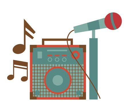 Tonverstärker-Mikrofon-Noten-Musik-Ausrüstung-Festival-Musik-Vektor-Illustration
