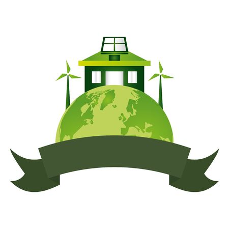 world house solar panel windmill emblem eco friendly environment vector illustration