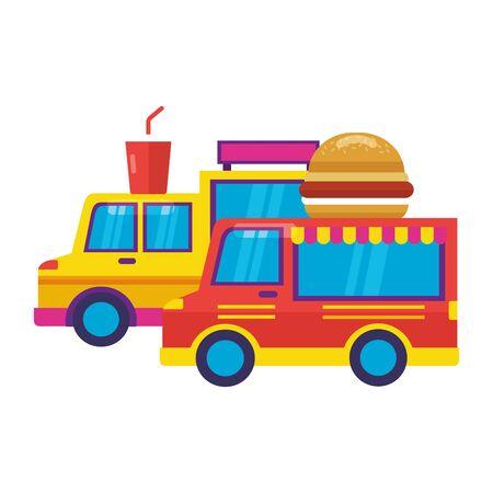 food trucks burger and soda vector illustration