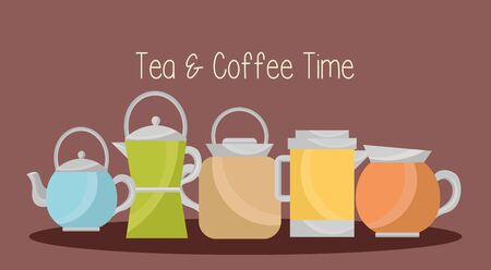 Coffee and tea pot sdesign, Drink breakfast beverage bakery restaurant and shop theme Vector illustration