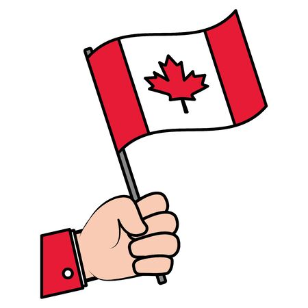 hand with canadian flag happy canada day vector illustration Ilustrace