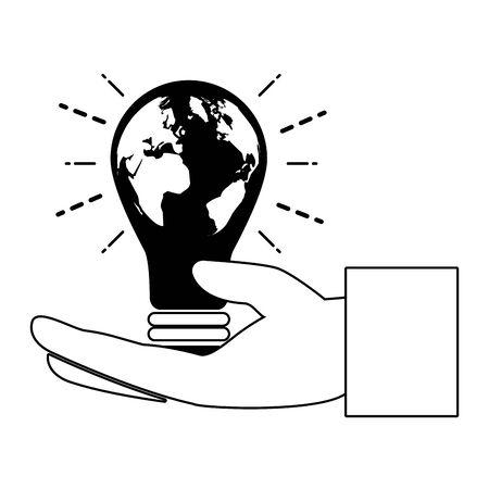 hand bulb planet eco friendly environment vector illustration