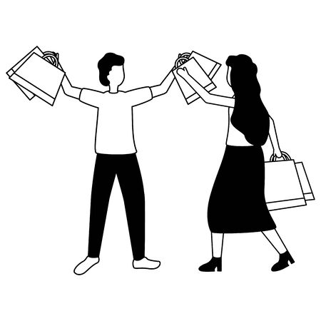 man and woman with shopping bags vector illustration