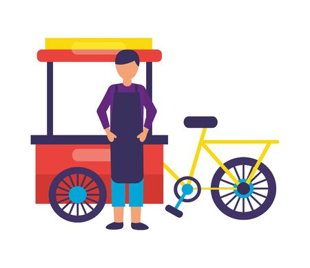 man bicycle food on white background vector illustration Çizim