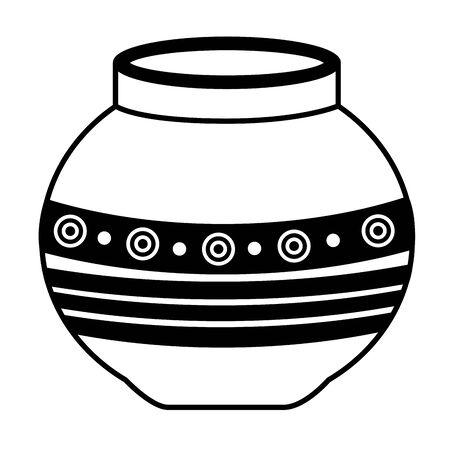 disegno dell'illustrazione di vettore dell'icona popolare del vaso di ceramica indiano