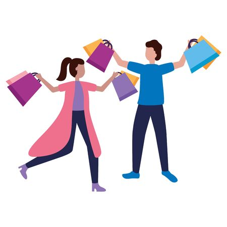 man and woman with shopping bags vector illustration Stock Vector - 129979856