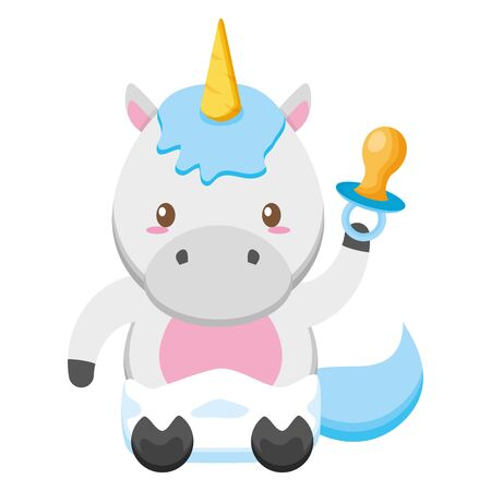 cute little unicorn with pacifier baby character vector illustration design Ilustrace
