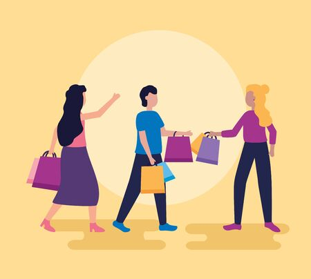 women and man buy shopping bags vector illustration Illustration