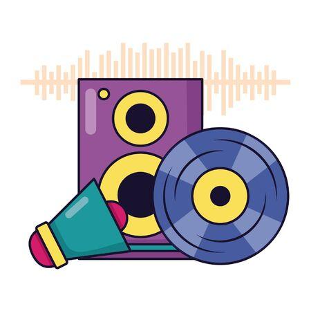 vinyl speaker megaphone music festival vector illustration