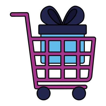 online shopping ecommerce cart and gift box vector illustration