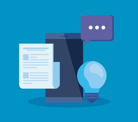 smartphone technology with document information and chat bubble to business strategy, vector ilustration