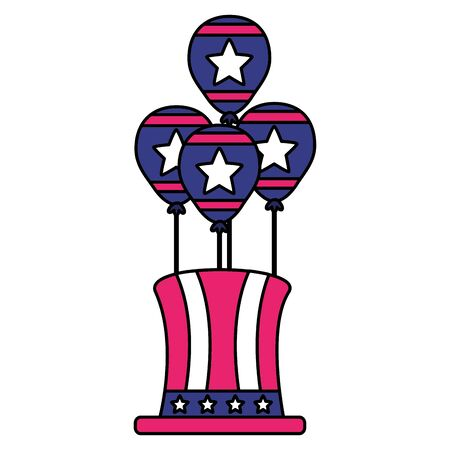 top hat and balloons american happy independence day vector illustration