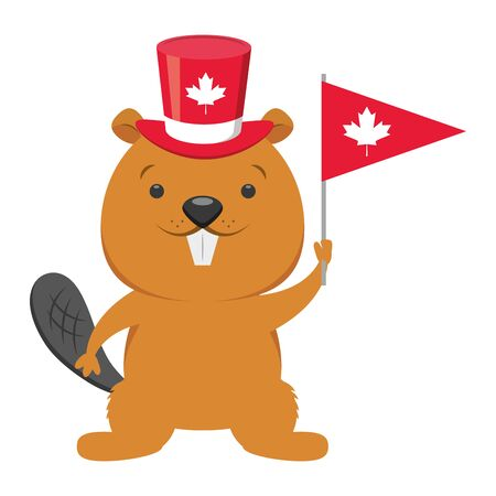 beaver with hat and flag happy canada day vector illustration Ilustrace