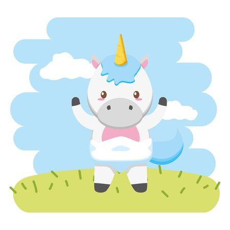 cute little unicorn baby character vector illustration design
