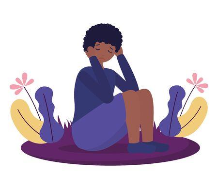 Garçon assis avec tristesse déprimé mental vector illustration Vecteurs