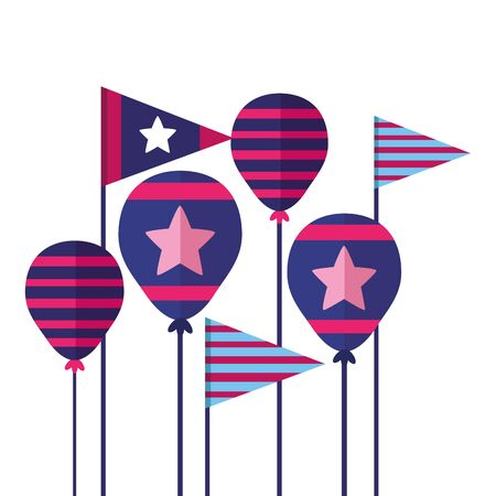 balloons flag american happy independence day vector illustration
