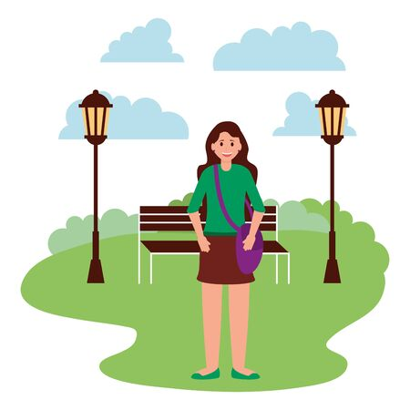 happy young woman bench lamp post sky park vector illustration Çizim