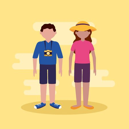 couple with camera and suitcases - people and travel vector illustration  イラスト・ベクター素材