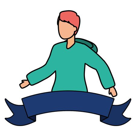 young man backpack sticker ribbon vector illustration 일러스트