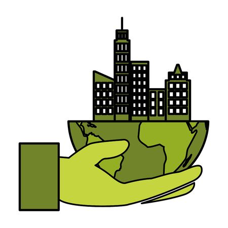 hand with planet city eco friendly environment vector illustration Stock fotó - 129980502