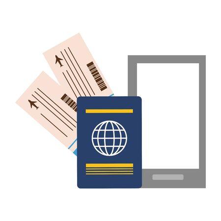 vacaciones, smartphone, pasaporte, billetes de avión, vector, ilustración