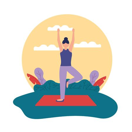 woman hands up yoga outdoor fresh vector illustration