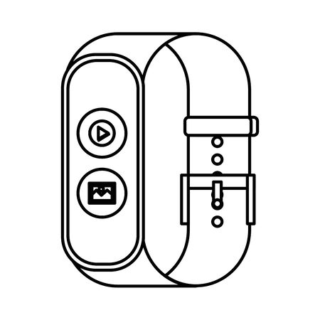 smartwatch with media player button and picture file vector illustration design  イラスト・ベクター素材