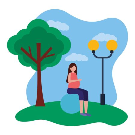 woman pregnancy belly on yoga ball in the park vector illustration