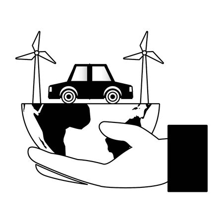 hand planet car windmill eco friendly environment vector illustration Vectores
