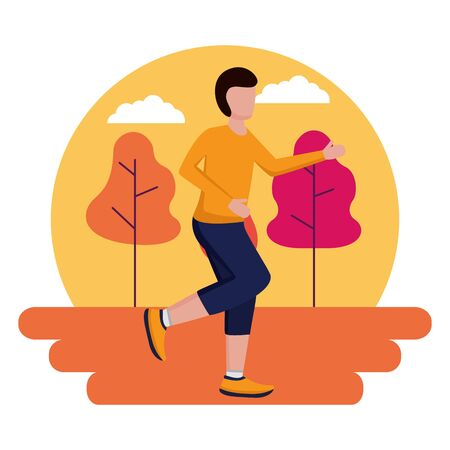 man running activity in the outdoors vector illustration