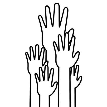 diversity hands international youth day vector illustration  イラスト・ベクター素材