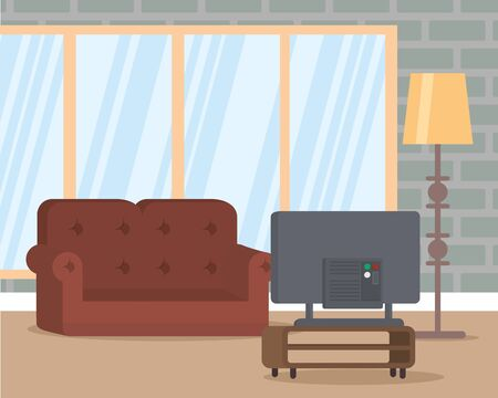 living room lamp couch television vector illustration  イラスト・ベクター素材