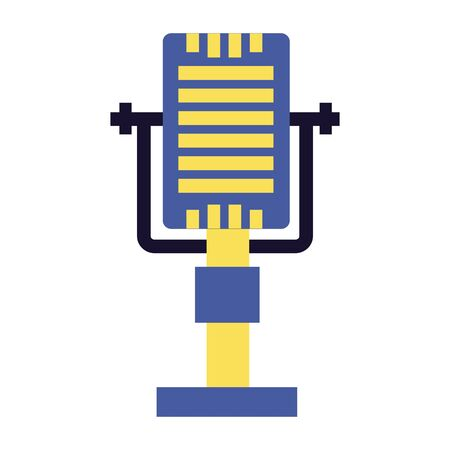 retro vintage microphone on white background vector illustration  イラスト・ベクター素材