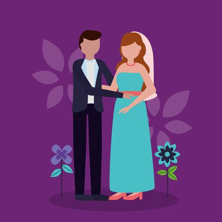 couple wedding holding hands love flowers background vector illustration Иллюстрация