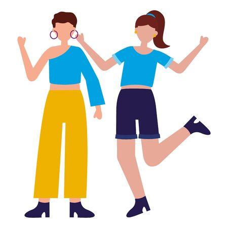 celebrating young women happy characters vector illustration Ilustración de vector