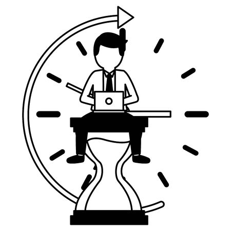 elegant young businessman with hourglass and arrow vector illustration design