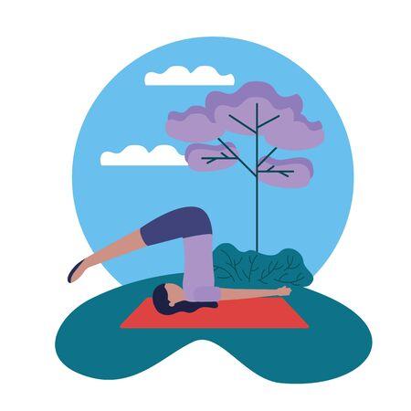 yoga outdoor woman flexing body vector illustration  イラスト・ベクター素材