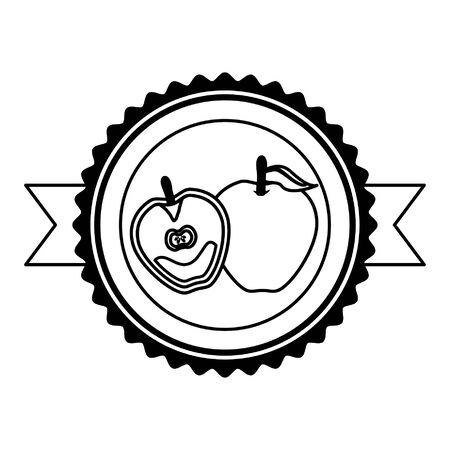 apple tropical fruits sticker design vector illustration