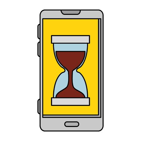 smartphone with hourglass time icon vector illustration design
