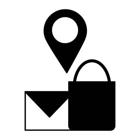 shopping bag email and navigation pin vector illustration