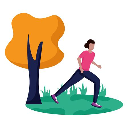 woman practicing running activity in the park vector illustration Zdjęcie Seryjne - 129980741