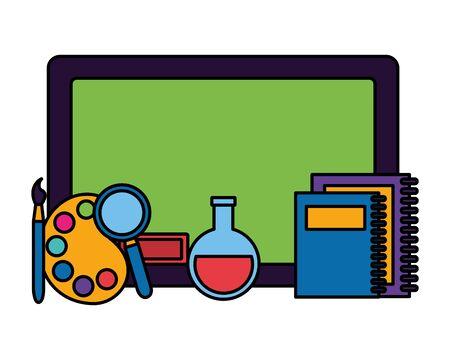 chalkboard books test tube magnifier paintbrush back to school vector illustration