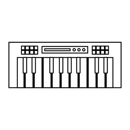 synthesizer keyboard music on white background vector illustration Illustration