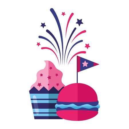 burger and cupcake flag american happy independence day vector illustration
