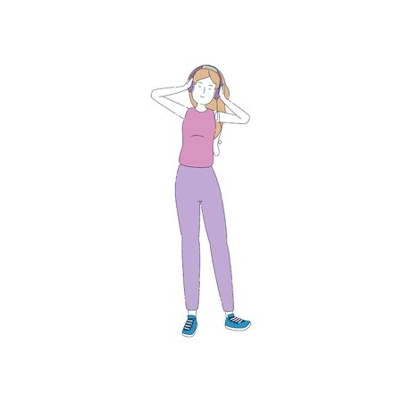 young woman with earphones character vector illustration design