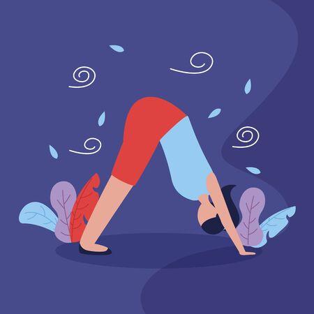 yoga outdoor plants nature woman flexing body vector illustration 写真素材 - 129855797
