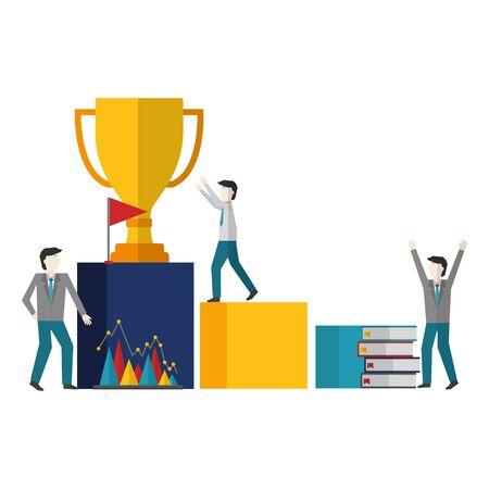 business people trophy books flag success vector illustration Иллюстрация