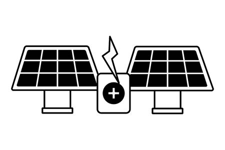 solar panels energy battery charge vector illustration Illusztráció