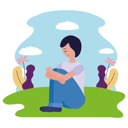 boy sitting with sadness mental depressed vector illustration